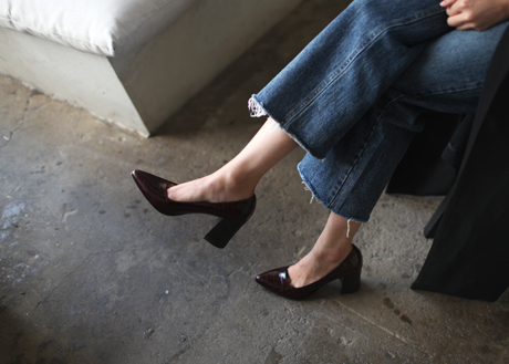 Clean Classy Heel 수제화 (Croc pattern)(PP0250)(7,8cm)